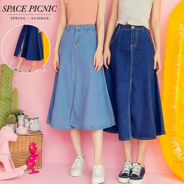 單寧 長裙 Space Picnic 經典雙口袋開岔單寧長裙(現+預)【C18063070】