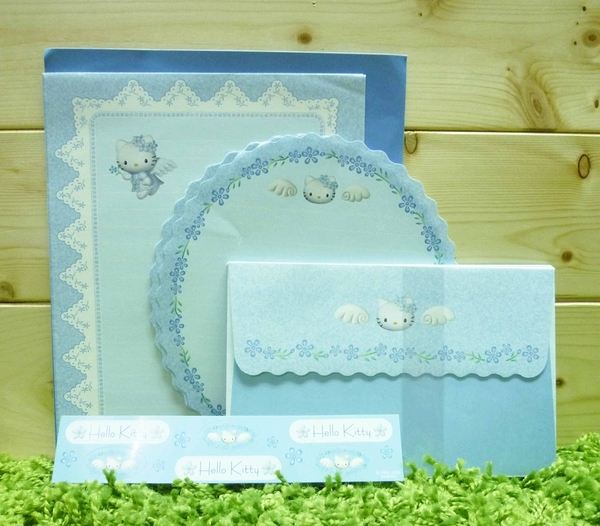 【震撼精品百貨】Hello Kitty 凱蒂貓~信籤組~藍天使