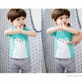 韓版男童寶寶兒童平角分體泳衣配套小童中大