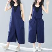 棉麻背帶褲女寬鬆2020新款夏季韓版大尺碼顯瘦闊腿七分褲吊帶連體褲 降價兩天