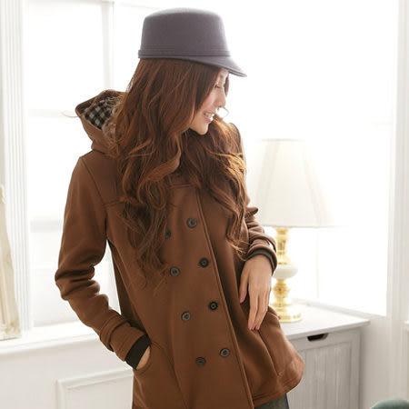 連帽外套--主角級品味雙排釦連帽素面厚刷毛短大衣(黑.紫.咖M-2L)-J78眼圈熊中大尺碼