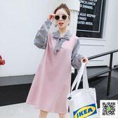 孕婦秋裝洋裝韓版時尚新款潮媽長袖上衣中長款春秋季孕婦裙 玫瑰女孩