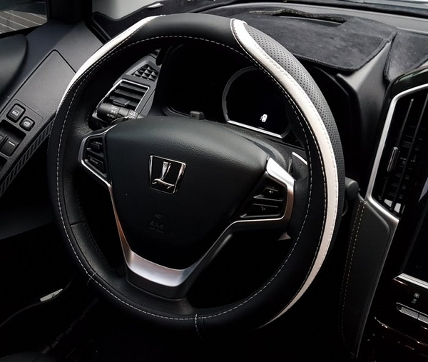 MAZDA馬自達【運動方向盤皮套】馬3 CX5 CX3專用直套式 紅色車縫線 藍色 賽車真皮保護套