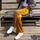 女士寬鬆休閒褲 女生休閒褲寬管褲 金絲絨冬裝闊腿褲褲子 韓版保暖顯瘦哈倫褲 運動潮流長褲