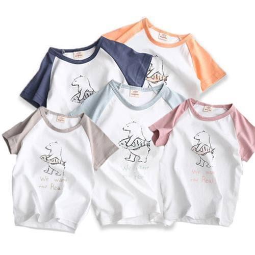 短袖上衣  韓版純棉小熊愛魚拼接袖子短袖T恤 S53011