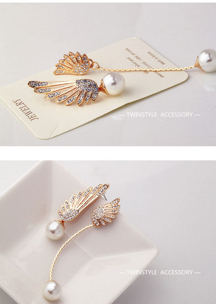 Star 日韓系列 -不對稱翅膀珍珠耳釘-D57