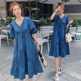 孕婦裝 MIMI別走【P521435】法式設計感 V領抓褶連身裙 孕婦洋裝