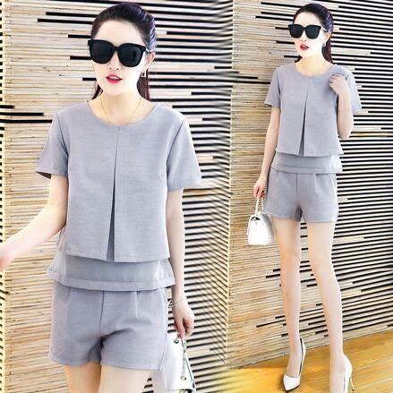 【PU03】寬褲套裝 短褲韓版時尚氣質顯瘦小香風短袖兩件套 L XL~淺灰