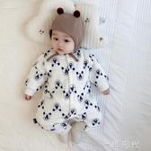 嬰兒連身衣秋冬裝新生兒衣服寶寶薄棉保暖衣套裝夾棉加厚哈衣冬季 聖誕節免運