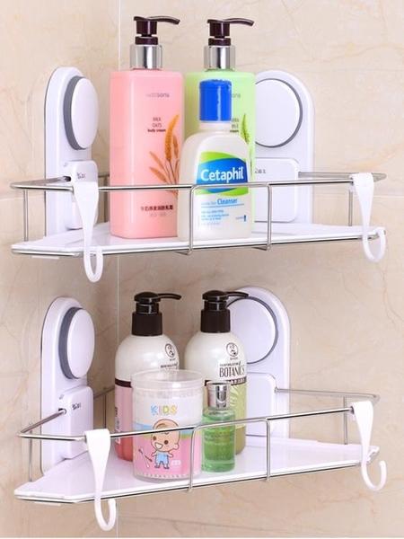 嘉寶吸盤免孔不銹鋼浴室衛生間牆角架廁所壁掛層架吸壁三角置物架 亞斯藍