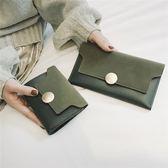 復古磨砂軟錢包女長款純色正韓學生三折疊錢夾簡約手拿包
