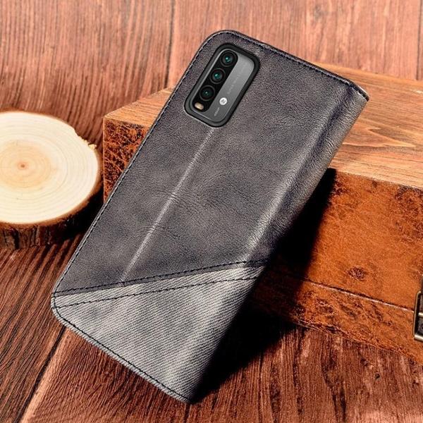 新品特價 適用Redmi Note9 4G翻蓋手機皮套撞色錢包支架紅米note9 Pro 5g殼