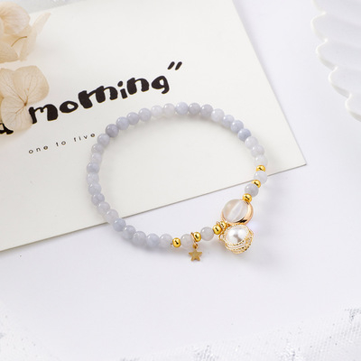 Qmigirl 韓版甜美少女心金屬纏繞珍珠串珠手鏈森林系簡約個性手串【G2528】