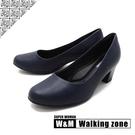 【南紡購物中心】WALKING ZONE SUPERWOMAN系列圓頭素面中跟淑女鞋上班鞋女鞋-藍(另有黑.卡其)
