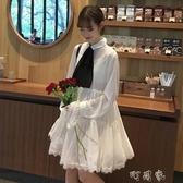女裝韓版中長款氣質蕾絲溫柔襯衫領結仙女雪紡長袖洋裝 交換禮物