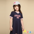 Azio 女童 洋裝 英文字母印花運動風短袖洋裝(藍) Azio Kids 美國派 童裝