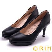 ORIN 簡約時尚名媛 質感素面蜥蜴壓紋牛皮高跟鞋-黑色