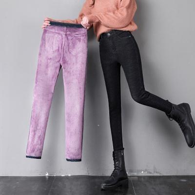 冬季加絨加厚牛仔褲女小腳褲高腰彈力緊身顯瘦保暖鉛筆褲子女T328 韓依紡