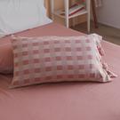 長絨棉 韓式綁帶枕套2入【野櫻粉】色織雙層紗 自由混搭 翔仔居家