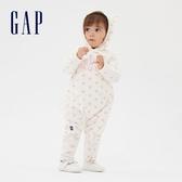 Gap嬰兒 LOGO搖粒絨可愛一體式包屁衣 593674-象牙白