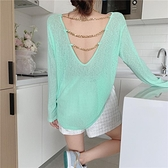 t恤女2021年新款夏季韓版露背長袖防曬體恤上衣薄款中長款女裝潮 初色家居館