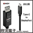 LINDY林帝 主動式USB3.1 TYPE-C TO DISPLAYPORT 轉接線 2M(43267)