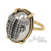 茱麗葉精品【全新現貨】FENDI 復古雙F LOGO水鑽鑲嵌戒指.古銅金