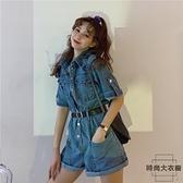 連身褲子女士潮韓版寬鬆直筒薄款工裝休閒牛仔褲春夏季【時尚大衣櫥】