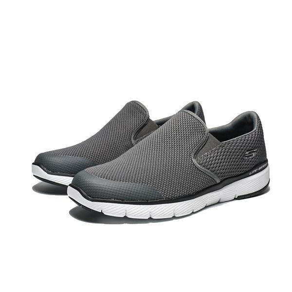 SKECHERS FLEX ADVANTAGE 3.0 白底 灰 黑 懶人鞋 男 (布魯克林) 52961WCHAR