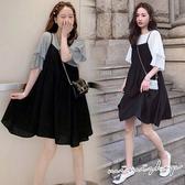 孕婦裝 MIMI別走【P31387】幸福宣言 兩件式荷葉袖上衣+吊帶裙 孕婦裙 套裝