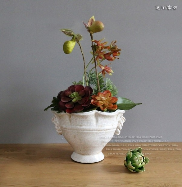 [協貿國際] 鄉村風格地中海風冰裂紋做舊白色復古花瓶花盆