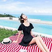 泳衣女連體平角遮肚顯瘦保守裙式大碼聚攏性感韓國溫泉學生純黑色