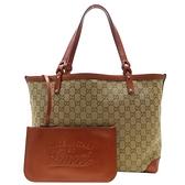 GUCCI 古馳 亮橘色皮革緹花帆布肩背包 Craft Tote Bag 247209 (附小袋) 【BRAND OFF】