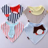 寶寶口水巾圍兜 純棉防水可愛嬰兒三角巾 0-24個月男童圍兜【庫奇小舖】