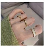時尚個性三件套網紅戒指女冷淡風小眾食指戒開口可調節指環