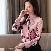 長袖襯衫S-2XL春款蝴蝶結花瓣單排扣氣質名媛女襯衣T512紅粉佳人