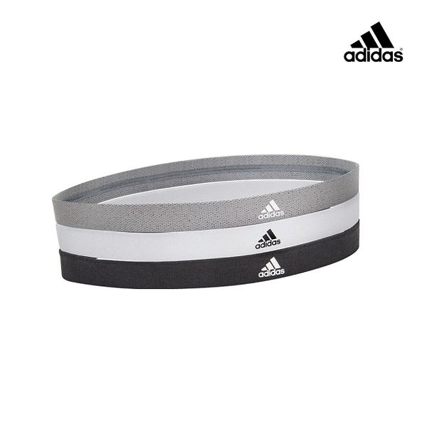 Adidas - 止滑運動髮帶組(沉穩黑/ 簡潔白 / 內斂灰)