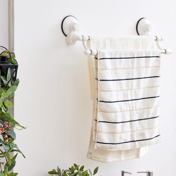 【澄境】TACO無痕吸盤系列-不鏽鋼雙桿毛巾架 收納架/衣架/置物架 BRF19