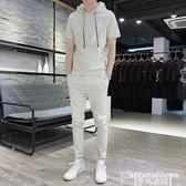 連帽T恤夏季網紅同款短袖T恤休閒套裝男韓版潮流修身社會小夥潮男兩件套 非凡小鋪