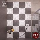 【好物良品】北歐風三角浴室拼接防滑地墊_24片組(可自由拼接)黃色24入