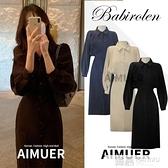 2021春季新款法式復古洋裝氣質小黑裙赫本風長裙收腰顯瘦襯衫裙 萬聖節狂歡