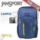 JANSPORT後背包包15吋筆電包大容量JS-41017-0P0月光藍/萊姆綠