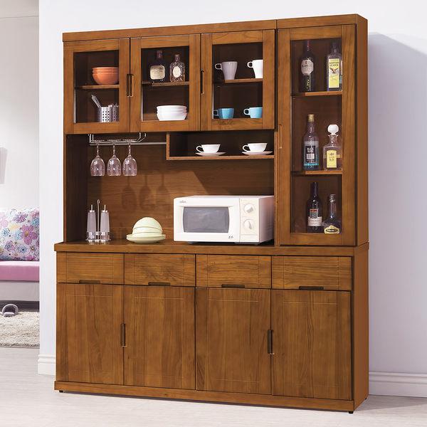 【森可家居】凱西柚木5.3尺餐櫃 7HY428-3 高廚房收納櫃 日系無印風