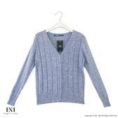 【INI】實穿日常、坑條織紋素色針織外套.灰色