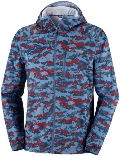 【Columbia】 男款防潑水迷彩風衣外套_迷彩藍