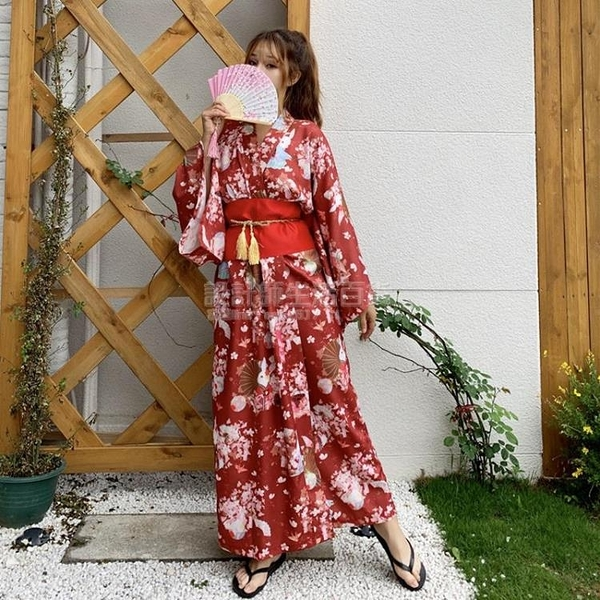 非質量問題不接受退換 設計感小眾秋季2020新款復古日系和風桃花祈愿兔改良和服洋裝女 設計師