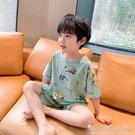 男童短袖家居服套裝夏裝2020新款兒童睡衣中大童卡通冰瓷棉夏季潮晴天時尚