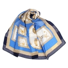 LANVIN希臘風情印花披肩絲巾(藍色)487999