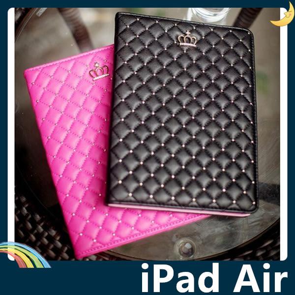 iPad Air 1/2 奢華皇冠保護套 菱格紋側翻皮套 小香風 水鑽貼鑽 時尚簡約 支架 平板套 保護殼