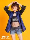 【2%】新品 2%寬版數字06格紋異材質拼接袖上衣-藍